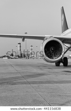 Italy, Venice; 14 September 2011, airplanes on the runway and the Airport flight control tower - EDITORIAL