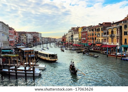 Italy, Venice sunset in the grand canal - stock photo
