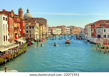 Italy, Venice sunset in the grand canal in Cannaregio area - stock photo