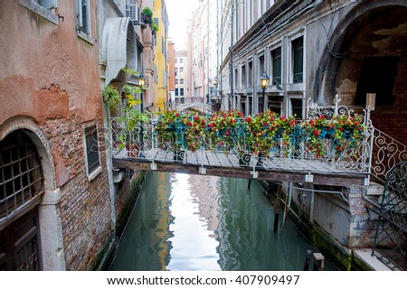 Italy, Venice. The bridge between the neighboring houses, decorated with beautiful flowers.