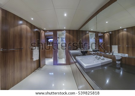Italy, Viareggio, 82' luxury yacht, master bathroom