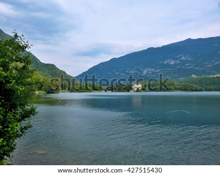 Italy-view of the castle and lake Toblino