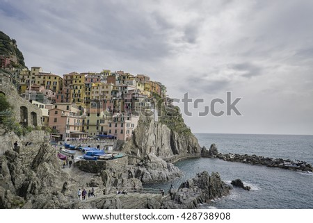 Italy,Village of Manarola, on the Cinque Terre coast of Italy, Seascape in Five lands, Cinque Terre National Park, Liguria Italy Europe.selective focus,vintage color