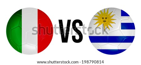Italy VS Uruguay soccer ball concept isolated on white background - stock photo