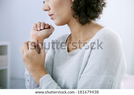 Itching In A Woman - stock photo
