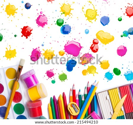 items for creativity and blots on a white background  - stock photo
