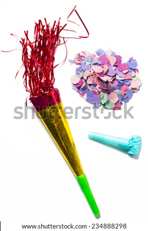 Items for Party birthday or new year on white background - stock photo