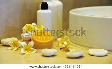 items for spa in bathroom - stock photo
