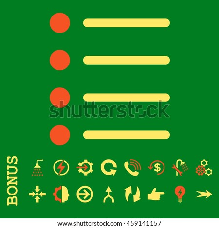 Items glyph bicolor icon. Image style is a flat pictogram symbol, orange and yellow colors, green background.
