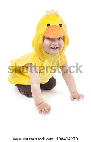 ittle funny boy in chicken costume - stock photo