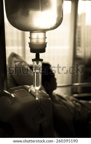 IV solution in hospital - stock photo