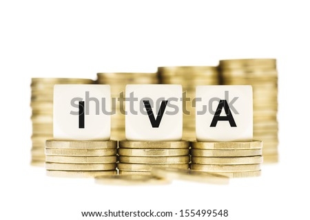 IVA (Spanish Value Added Tax) on Gold Coins Isolated on White - stock photo
