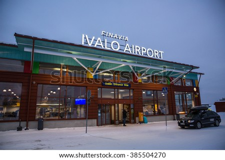Ivalo, Finland - February 26, 2015: View of Ivalo Airport in Lapland.