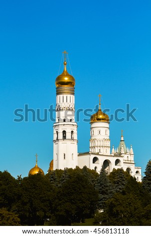 Ivan the Great bell tower in Moscow Kremlin in Moscow in Russia - stock photo