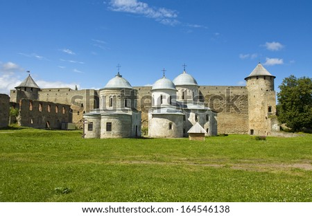 Ivangorod, Russia, middle ages castle in town Ivangorod near Saint Petersburg in Russia.
