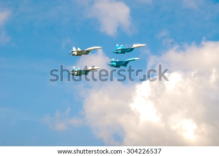 "IVANOVO, RUSSIA - AUGUST 8. SU-30 Russian Falcon Aerobatic team  Team. Military-patriotic festival ""Open Skies"" on August 8, 2015 in Ivanovo."