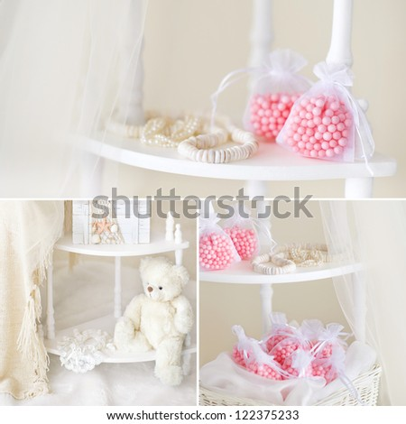 Ivory and pink still life collage with teddy bear