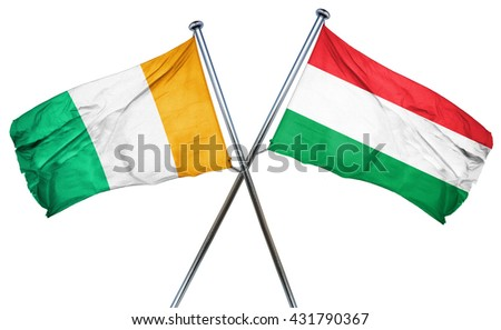 Ivory coast flag with Hungary flag, 3D rendering