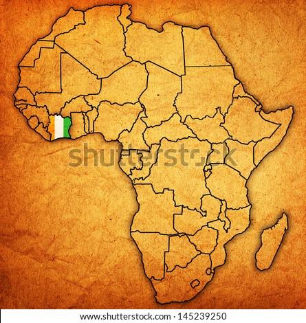 Ivory Coast On Actual Vintage Political Stock Illustration 145239250 ...