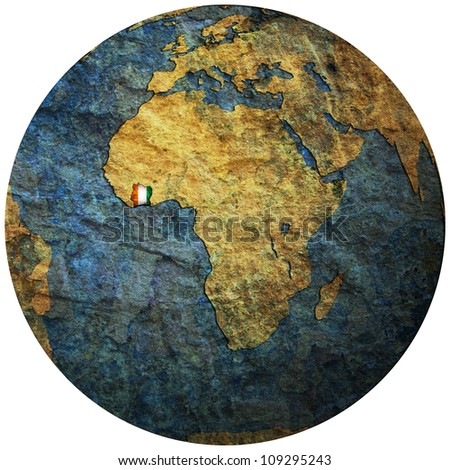 ivory coast territory with flag on map of globe
