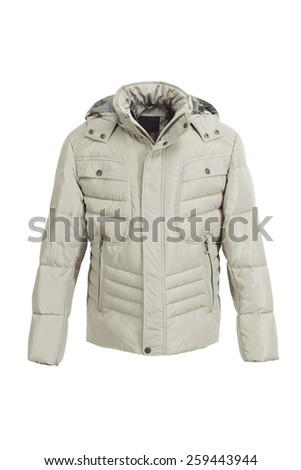 Ivory male winter jacket isolated on white background - stock photo