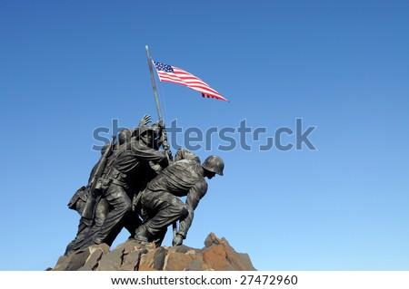 Iwo Jima, the United States Marine Corps Memorial, in Arlington, Virginia - stock photo