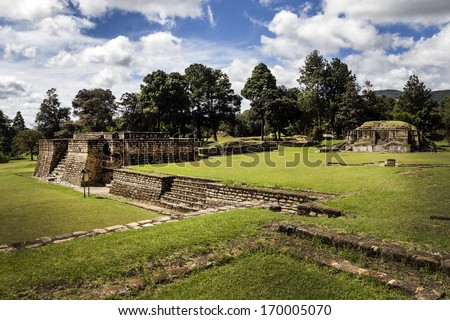 Iximche ruins in Guatemala, rests of the Maya's tribe - stock photo