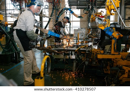 Izhevsk, Russia - SEPTEMBER 25: Car Assembly Line. Start Of Product  of LADA Vesta at the Automobile Factory IZHAVTO - AVTOVAZ, on September 25, 2015 in Izhevsk
