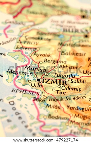 Izmir city Turkey, on atlas world map