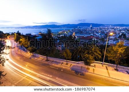 Izmir skyline at dusk - stock photo