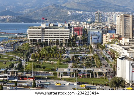 IZMIR, TURKEY - APRIL 11, 2014: The aerial view of Konak Square which is the heart of the city of Izmir. Izmir is located at the west coast of Turkey.