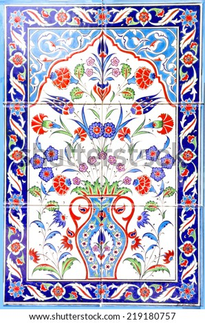 IZMIR, TURKEY - JULY 31 : Turkish artistic wall tile at the Fatih Mosque on July 31, 2014 in Izmir. impressive ancient Handmade Turkish Tiles.