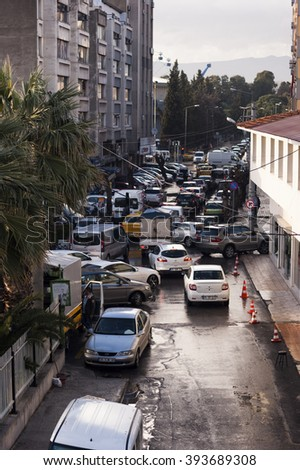 Izmir, Turkey - March 10, 2016. Traffic view from Basmane district in rush hour.
