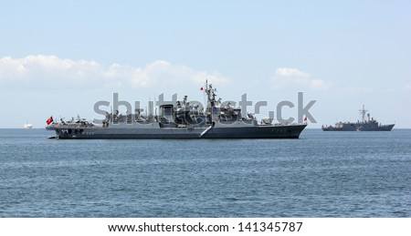 IZMIR, TURKEY - MAY 25: Turkish military ships standing in the Aegean sea on May 25, 2013 in Izmir bay
