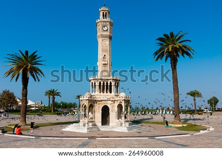 IZMIR, TURKEY - OCTOBER 04, 2014: Art and architecture, Clock Tower at the Konak Square, built to honor the Ottoman Sultan, Abdulhamit II.  One of the most popular tourist attractions of Izmir - stock photo