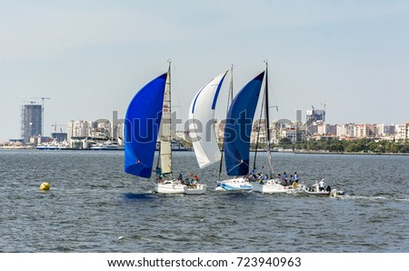 Izmir, Turkey - September 23, 2017 : Izmir Arkas Racing view in Izmir. Yacht races are organized every year in izmir Gulf .