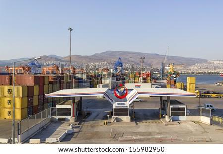 IZMIR, TURKEY - September 10 : Izmir port at Alsancak on September 10, 2013 in Izmir. Izmir port of is the largest national and international ports of Turkey. - stock photo