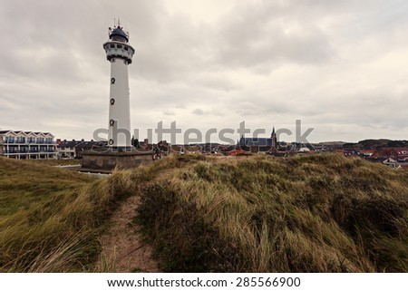 J.C.J. van Speijk Lighthouse. Bergen, North Holland, Netherlands. - stock photo