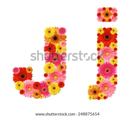 j, flower alphabet - stock photo