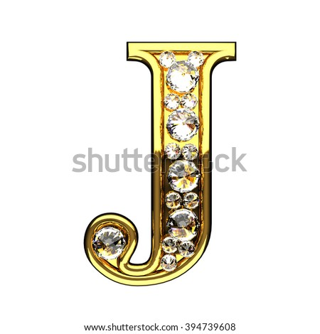 j isolated golden letters with diamonds on white