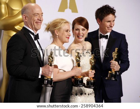 J.K. Simmons, Patricia Arquette, Eddie Redmayne and Julianne Moore pose in the press room during the 87th Annual Academy Awards at Loews Hollywood Hotel on February 22, 2015 in Hollywood, California.