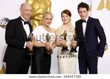 J.K. Simmons, Patricia Arquette, Julianne Moore and Eddie Redmayne at the 87th Annual Academy Awards Press Room held at the Loews Hollywood Hotel in Hollywood on February 22, 2015.