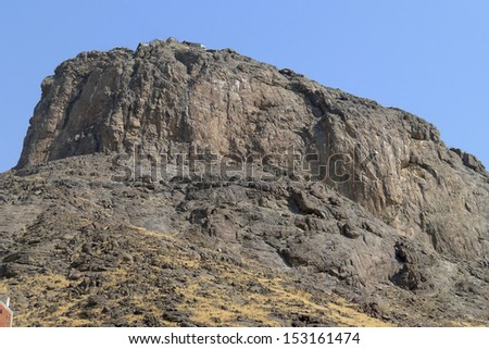 Jabal Nour (Nour Mountain - mountain of light) in Mecca, Saudi Arabia. Prophet Muhammad (peace be upon him) received his first revelation inside a cave at this mountain. - stock photo