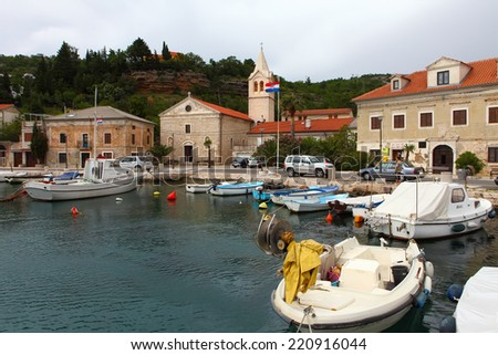 JABLANAC, CROATIA - June 1: The harbor of the beautiful village of Jablanac, on June 1, 2014 in Croatia. boats crowd the small harbor Jablanac is one of the most smallest villages in Croatia.