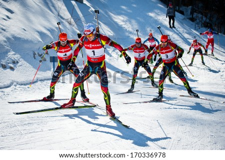 JABLONEC NAD NISOU, CZECH REPUBLIC - MARCH 23: Biathlete Ondrej Moravec leads the group of competitors during Czech Biathlon Championships 2013, March 23, 2013 in Jablonec nad Nisou, Czech republic - stock photo