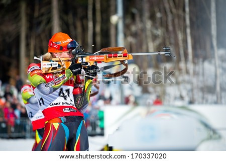JABLONEC NAD NISOU, CZECH REPUBLIC - MARCH 22: Czech biathlete Gabriela Soukalova standing on the range during Czech Biathlon Championships 2013, March 22, 2013 in Jablonec nad Nisou, Czech republic - stock photo