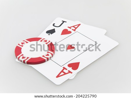 Jack and ace blackjack hand cards with chip on white background - stock photo