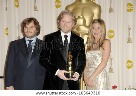 Jack Black with Andrew Stanton and Jennifer Aniston  in the Press Room at the 81st Annual Academy Awards. Kodak Theatre, Hollywood, CA. 02-22-09