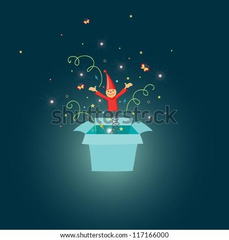 Jack in the box cartoon illustration - stock photo