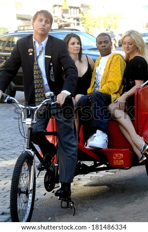Jack McBrayer, Tina Fey, Tracy Morgan and Jane Krakowski on location for Entetainment Weekly Photoshoot to promote 30 ROCK, Meatpacking District, New York, August 11, 2007 - stock photo